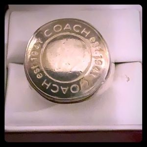 RARE COACH Sterling Silver Embossed Logo Ring
